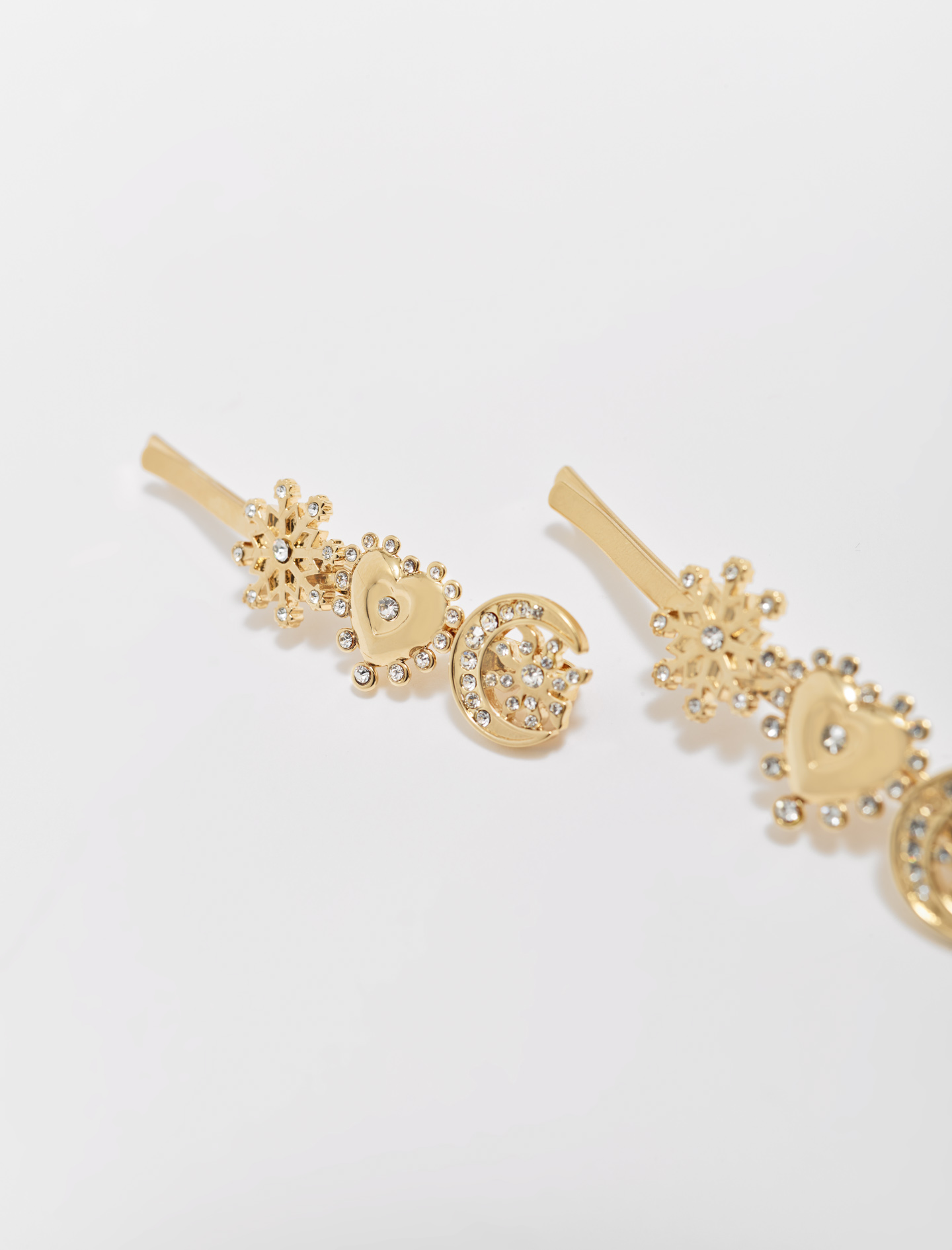 Gold tone charm hair clip - Gold