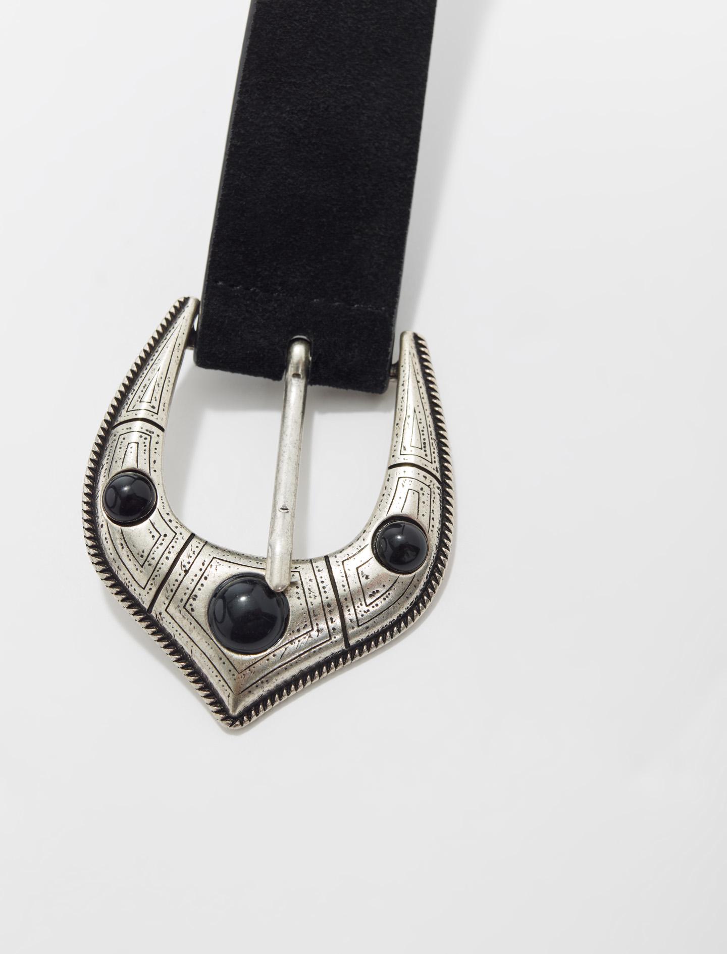 Berber style suede leather belt - Black