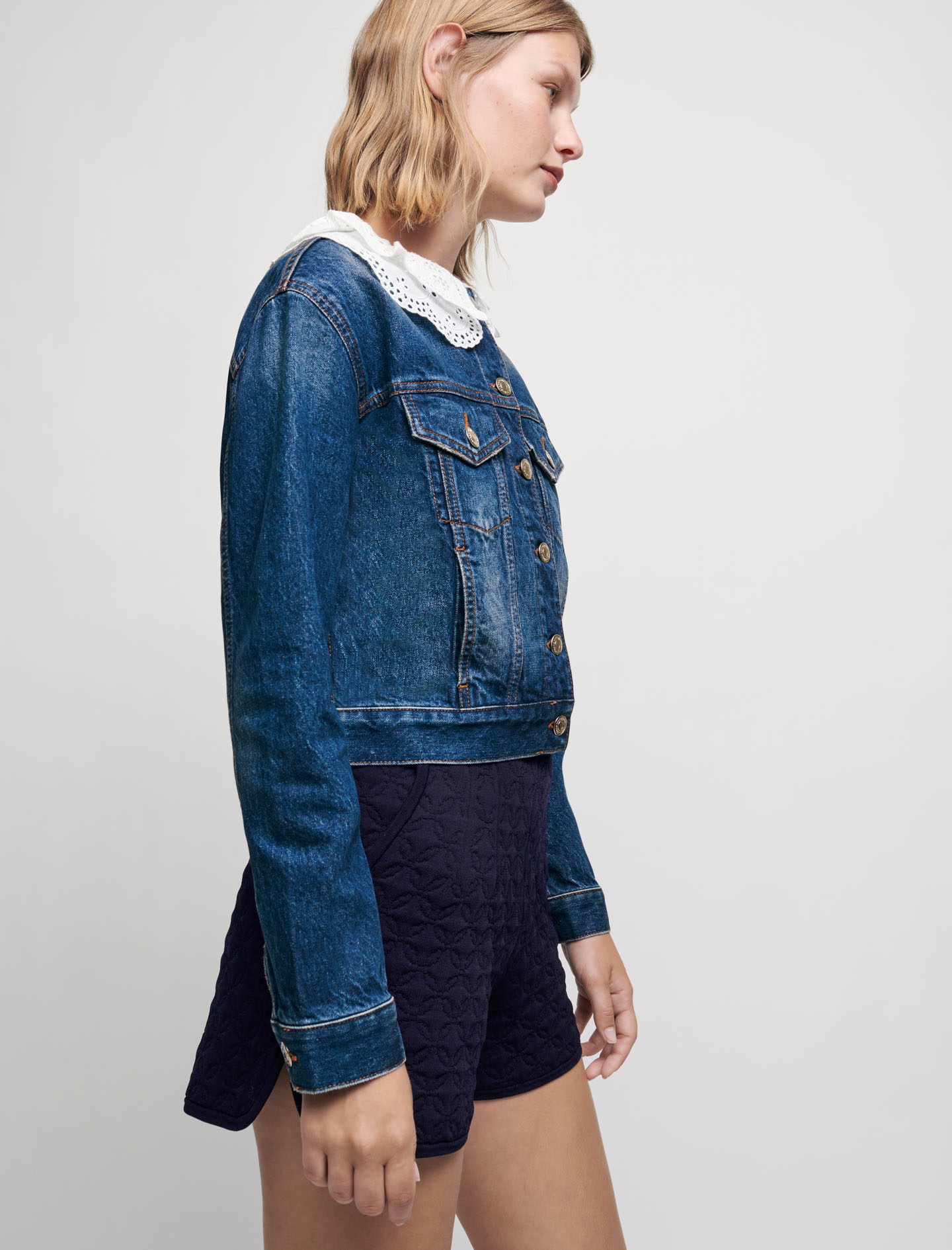 Denim jacket with embroidered collar - Blue