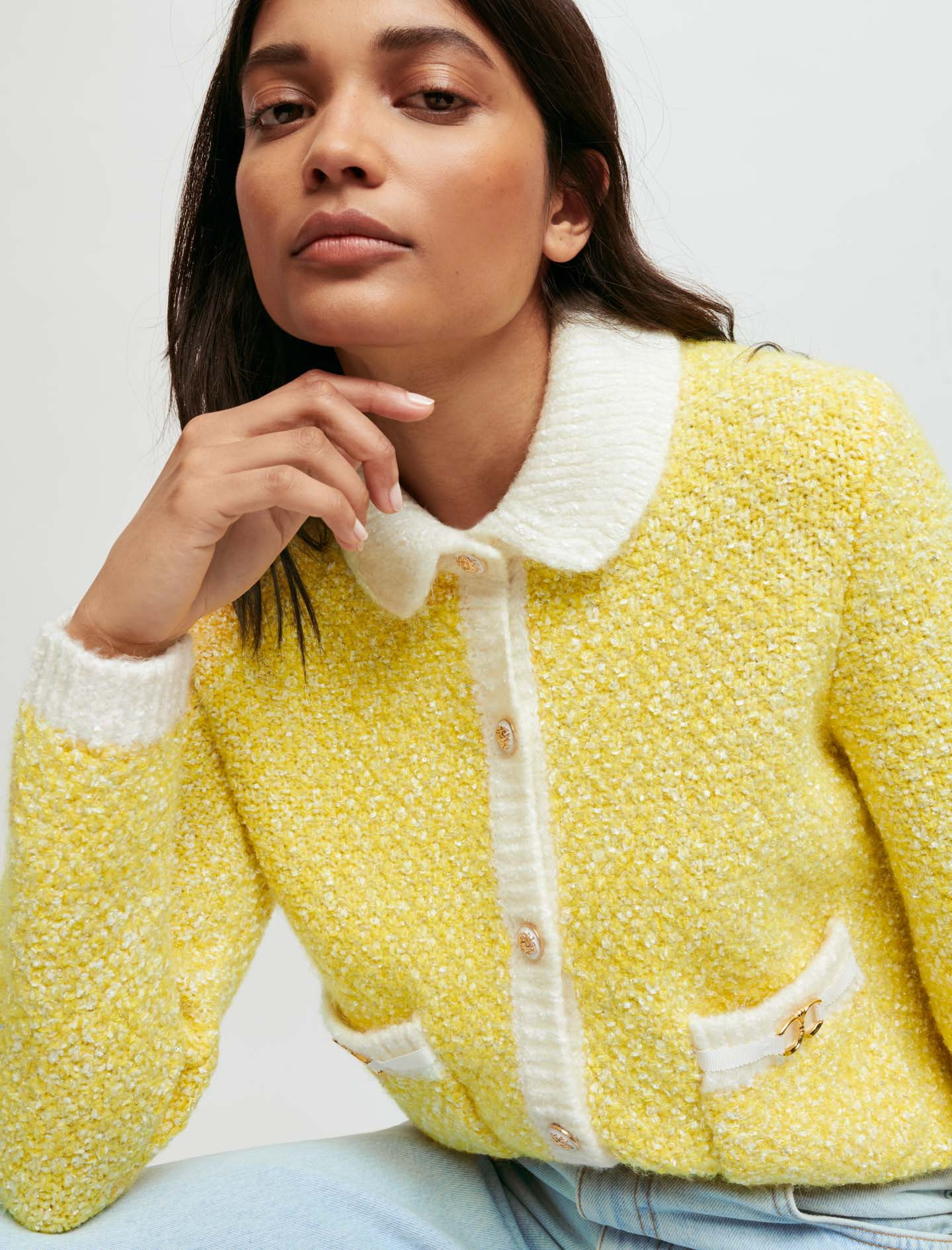 Fancy knit cardigan with horsebit detail - Yellow