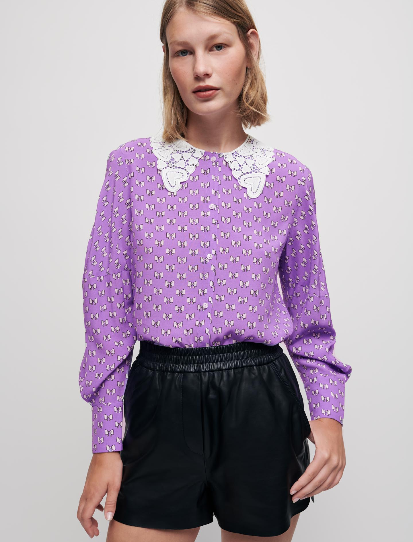 Bow Print shirt with guipure collar - Violet