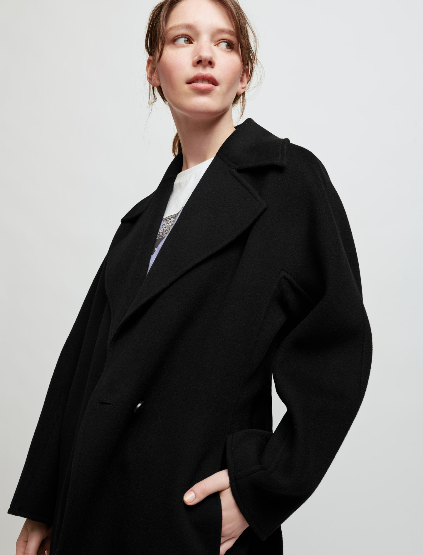 Double faced wool blend coat - Black