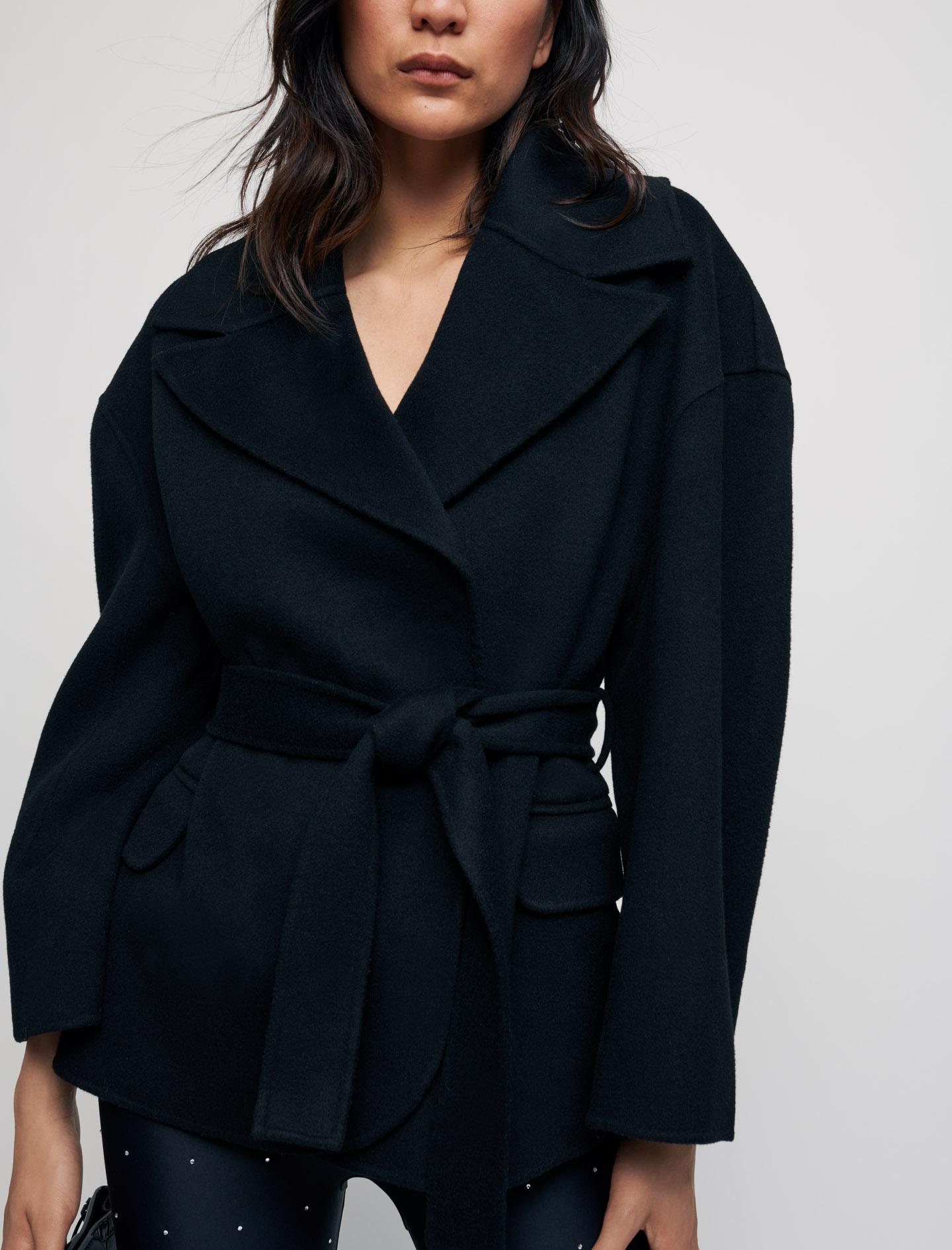 Double face wool blend coat with belt - Black