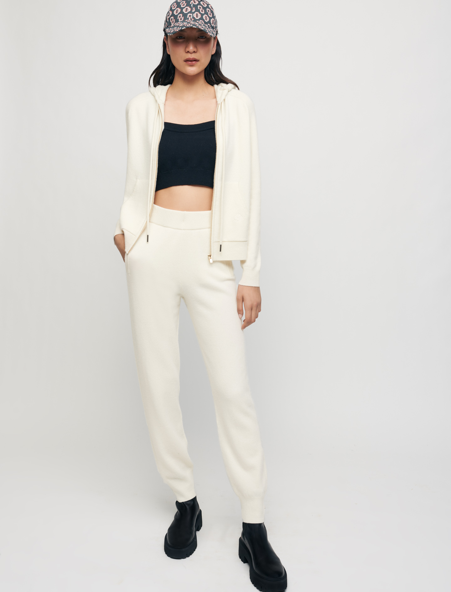 Cashmere tracksuit trousers - Ecru