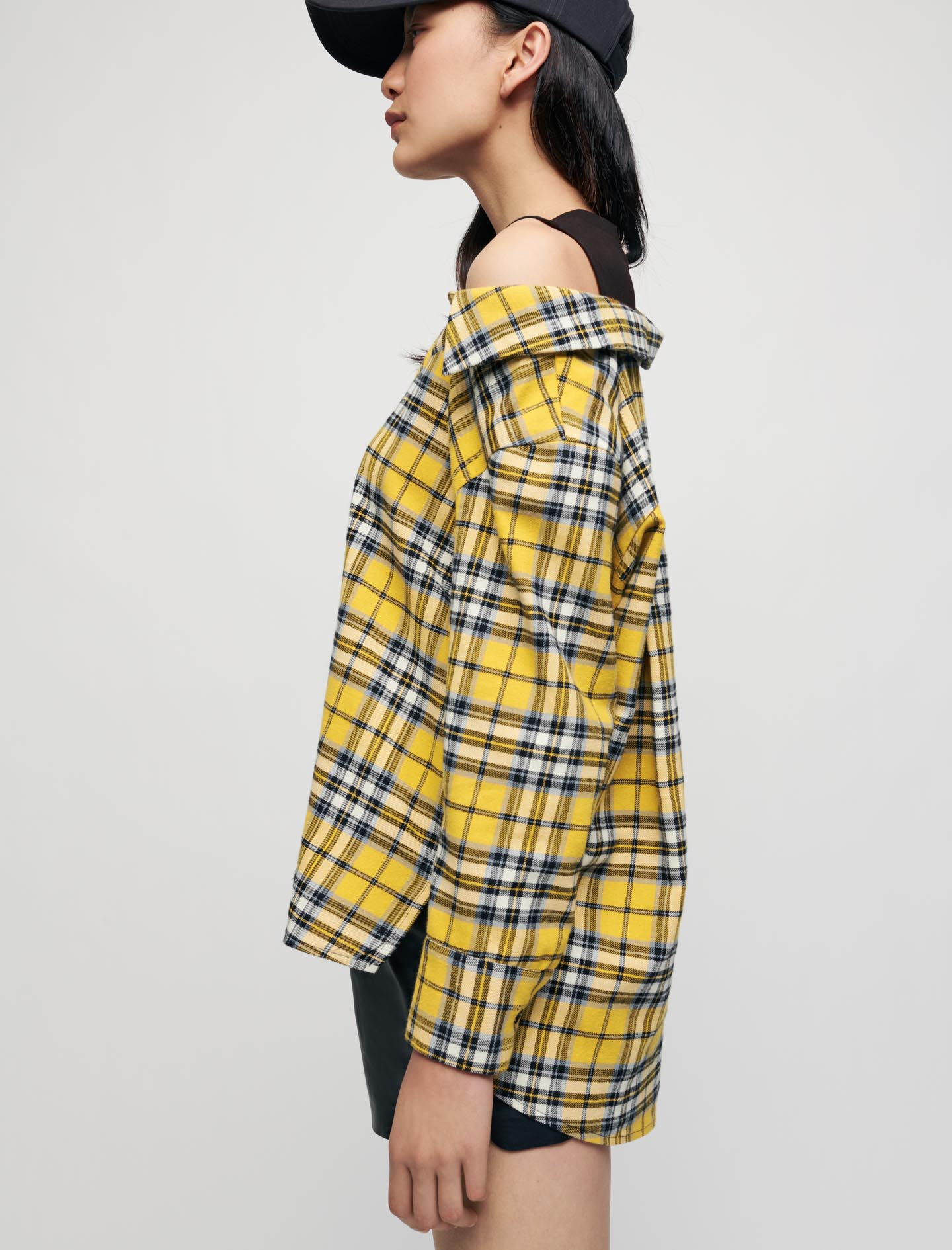 Trompe l oeil checked shirt and T shirt - Yellow