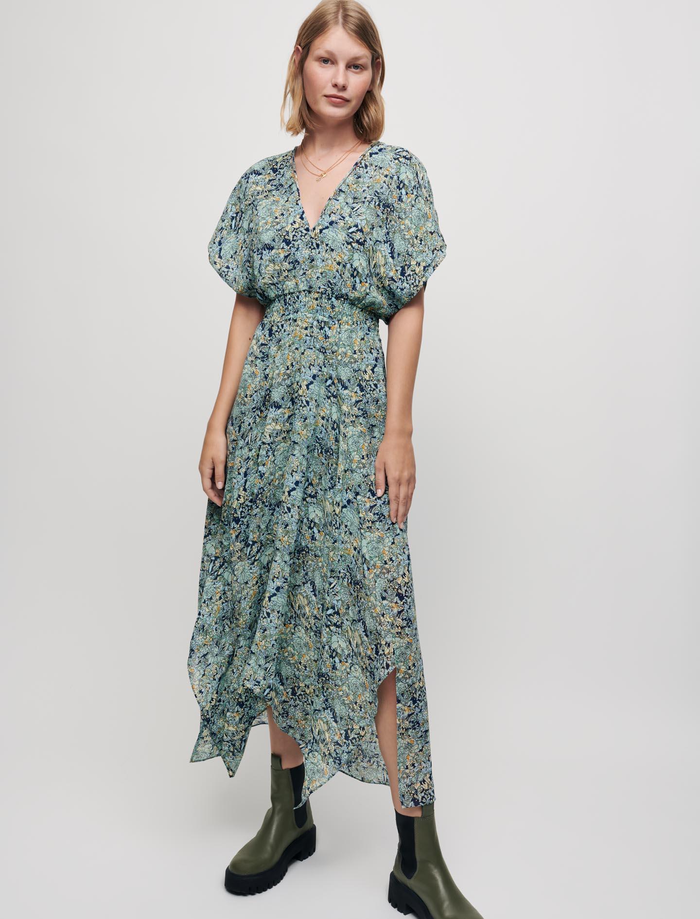 Printed chiffon scarf dress - Celadon