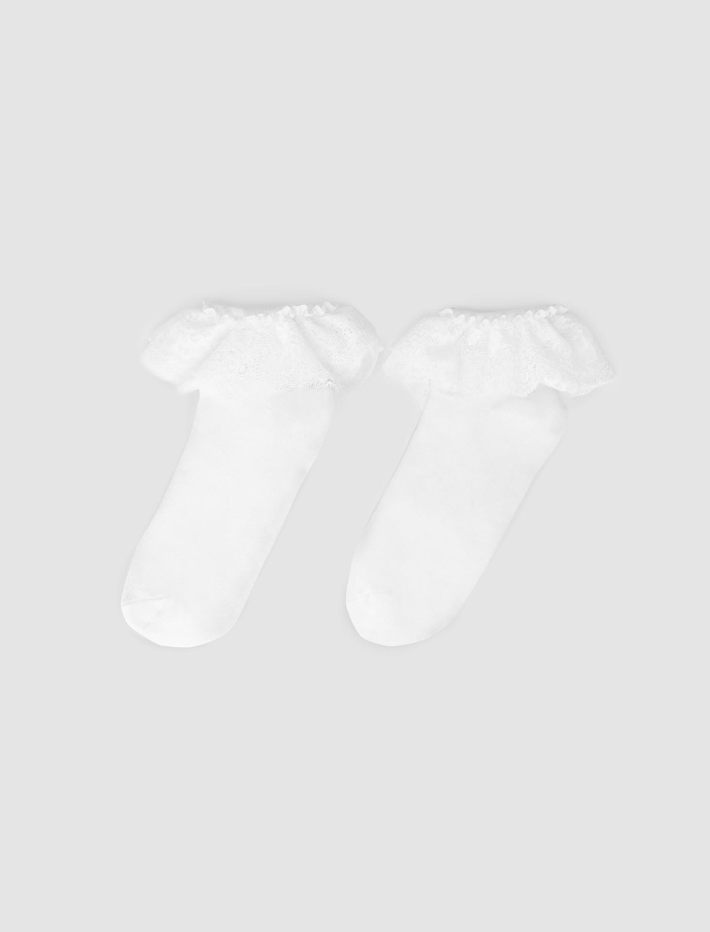 White socks with ruffles - White