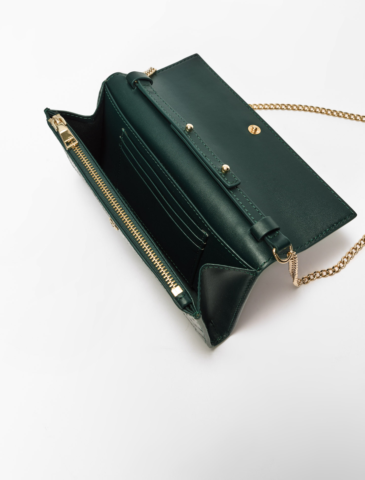 Croco embossed leather wallet with chain - Green