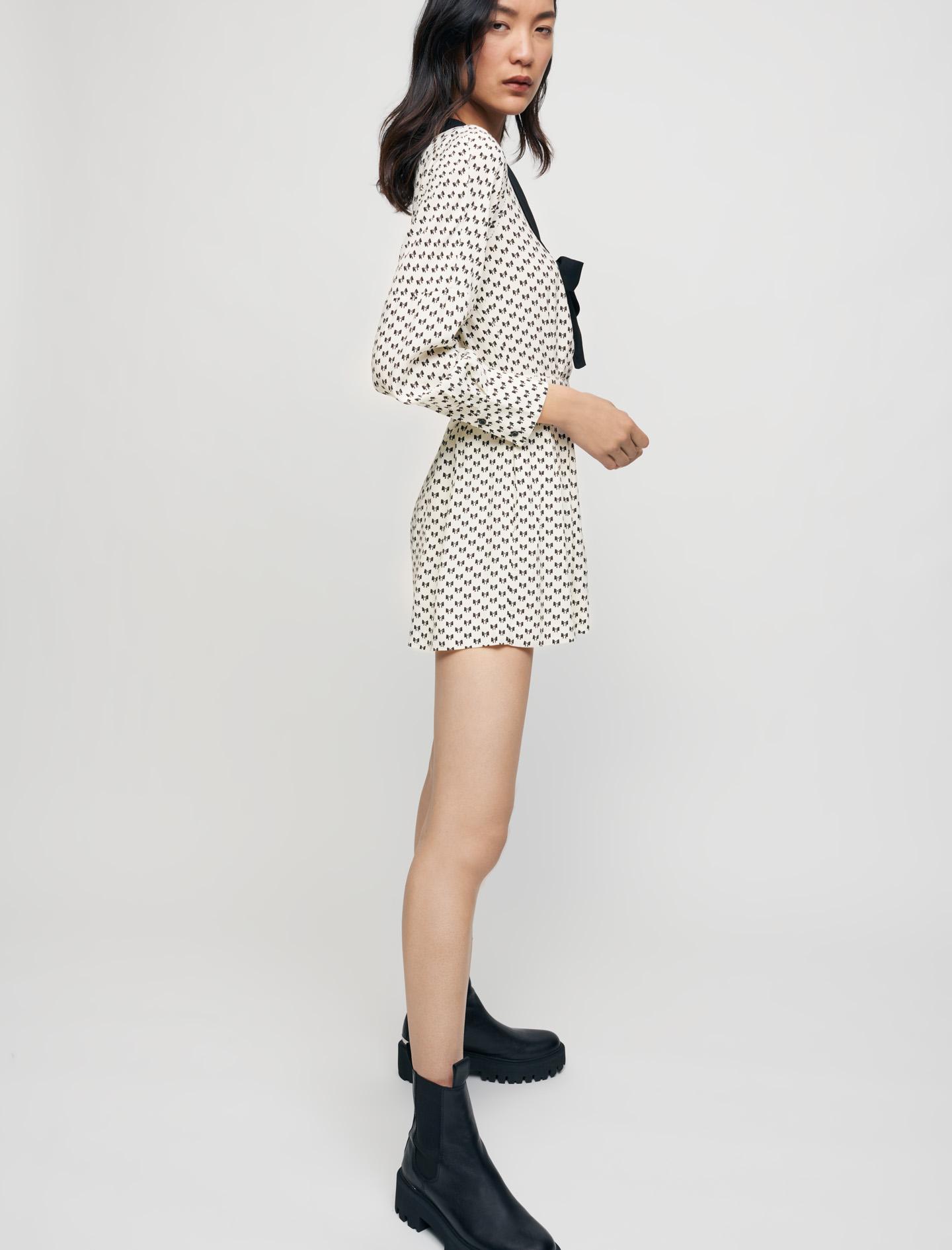 Bow print playsuit - White