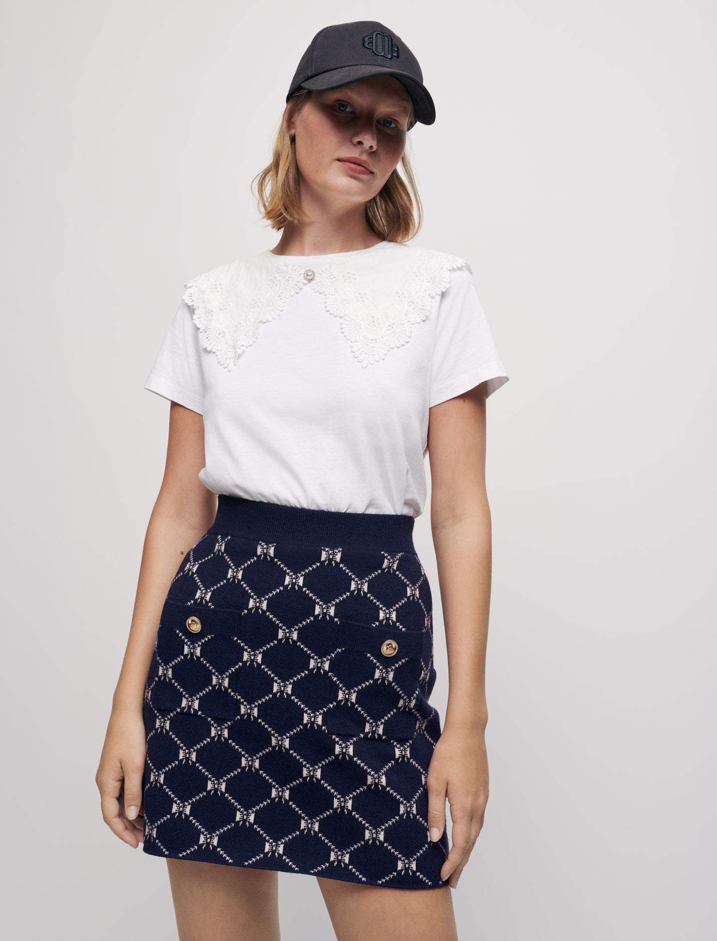Bow print skirt - Navy