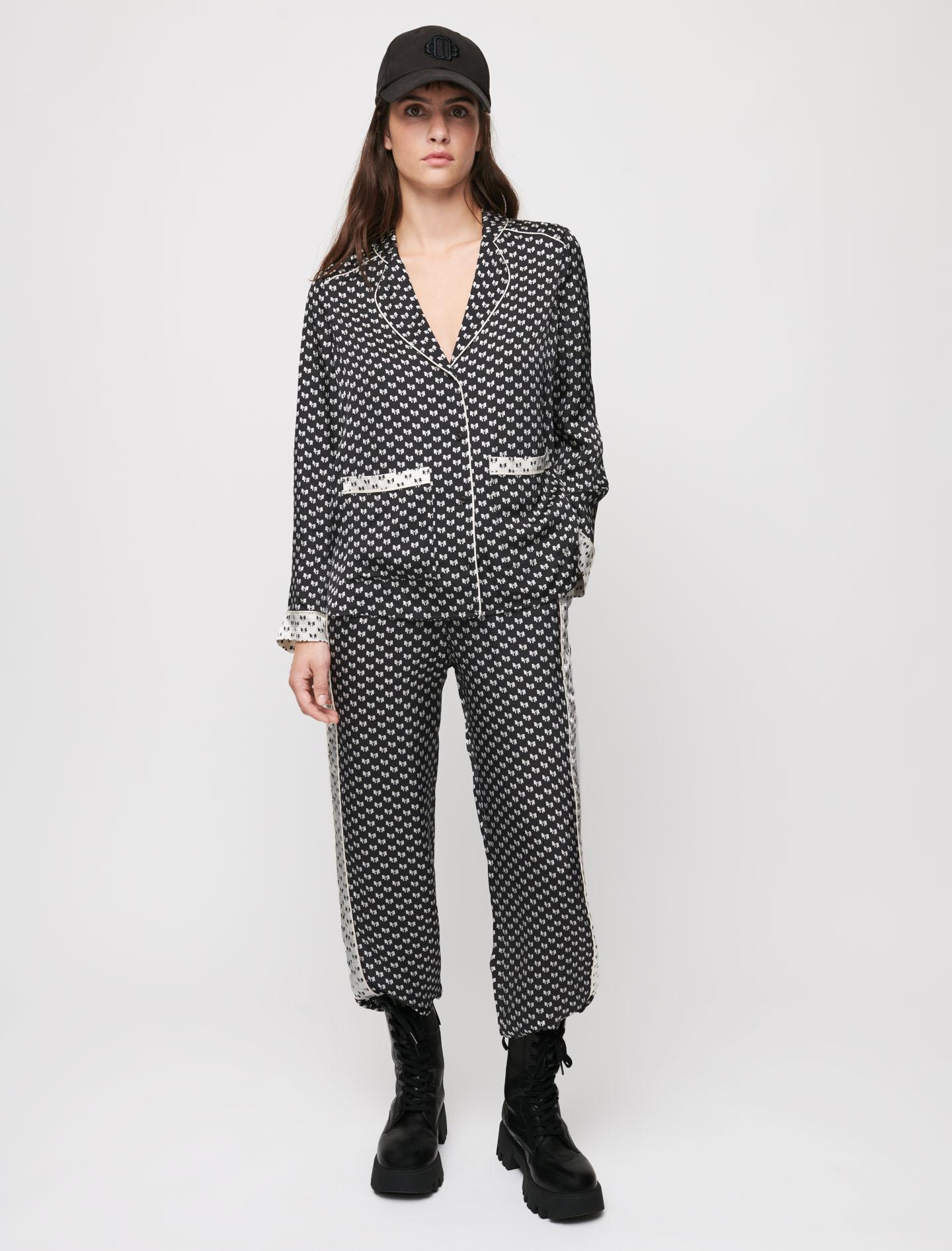 Bow print pyjama trousers - Black