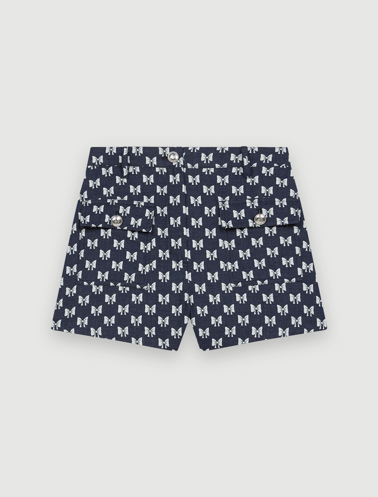 Jacquard shorts with bow pattern - Navy