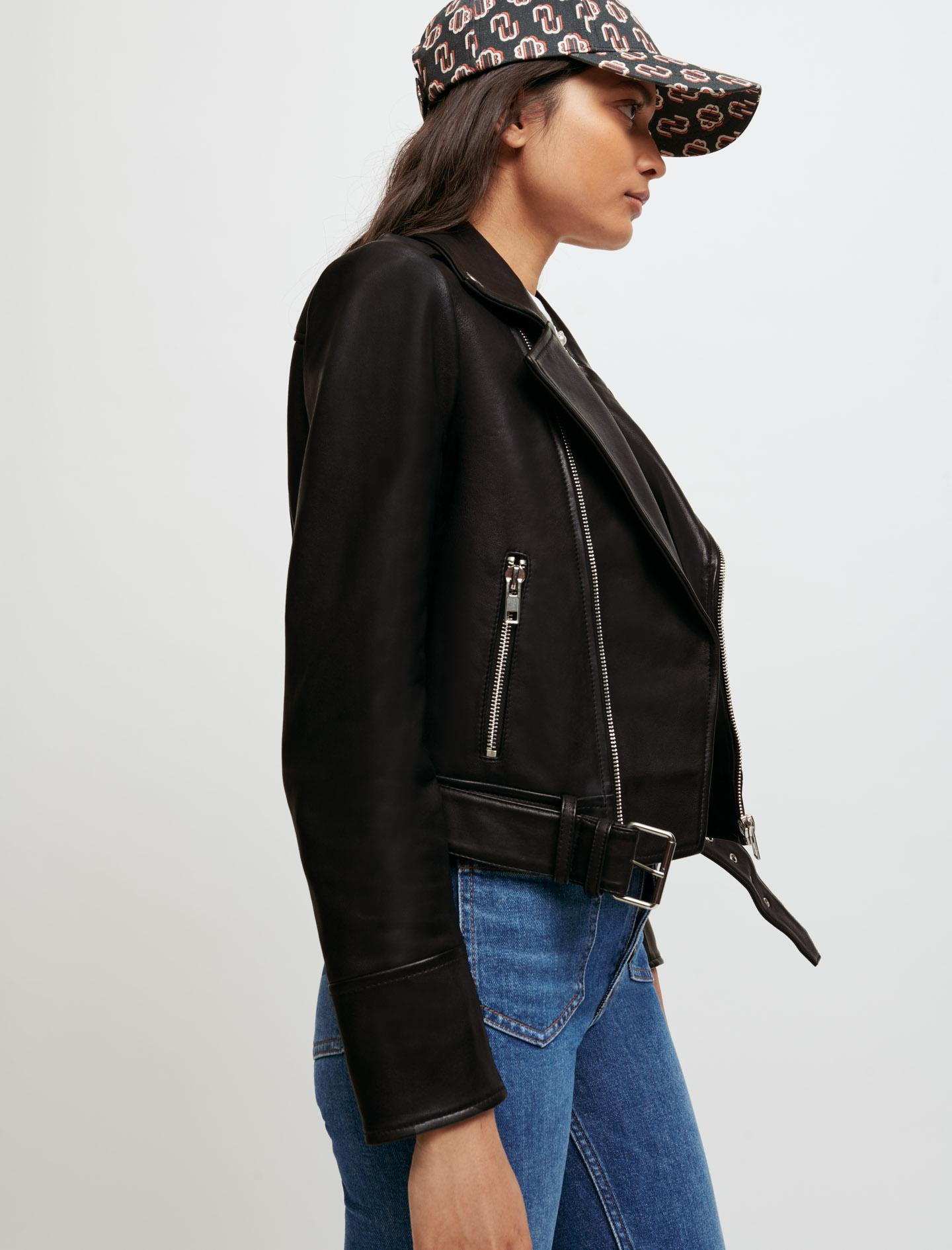 Lambskin biker style jacket - Black