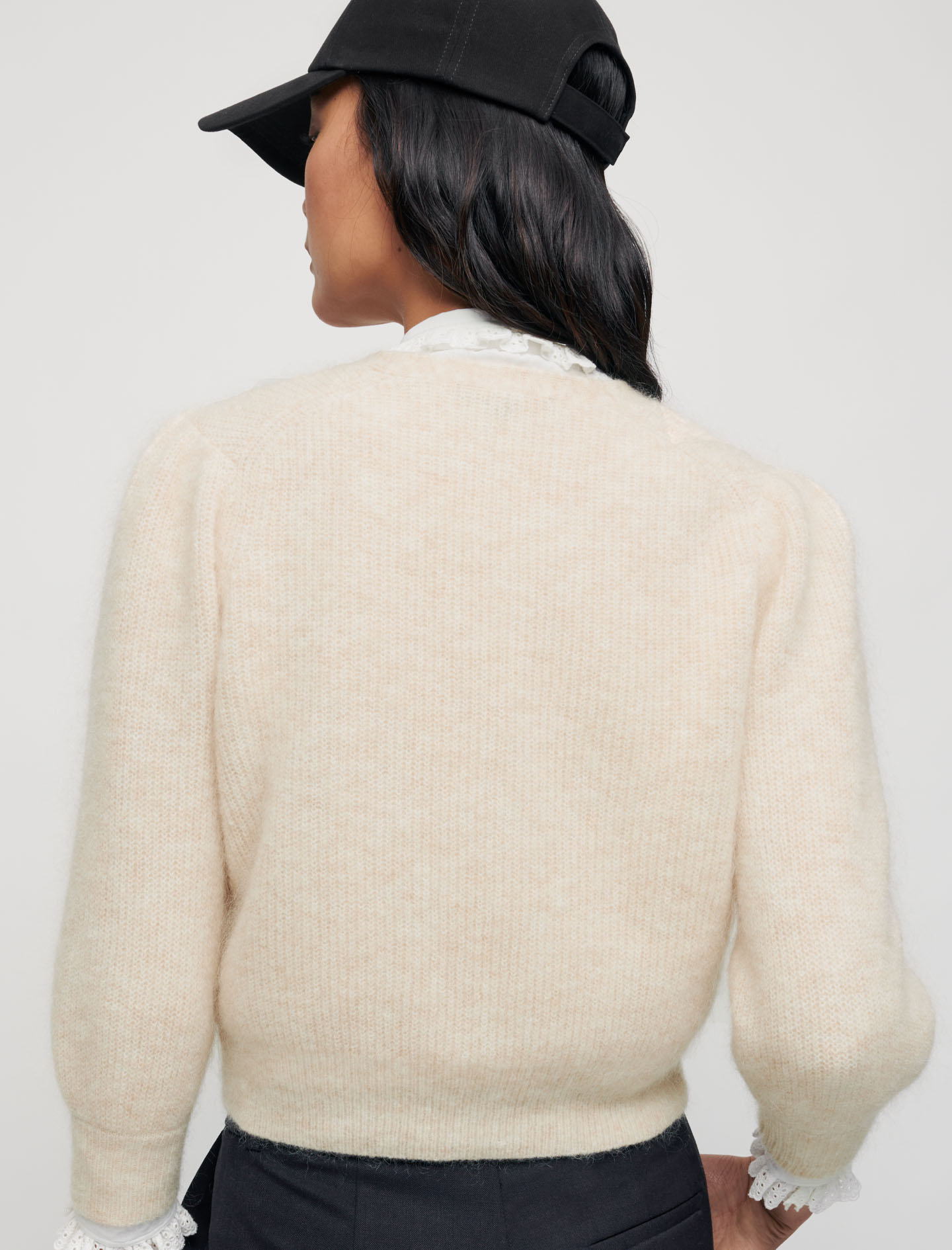 Mohair cardigan with pearl buttons - Beige