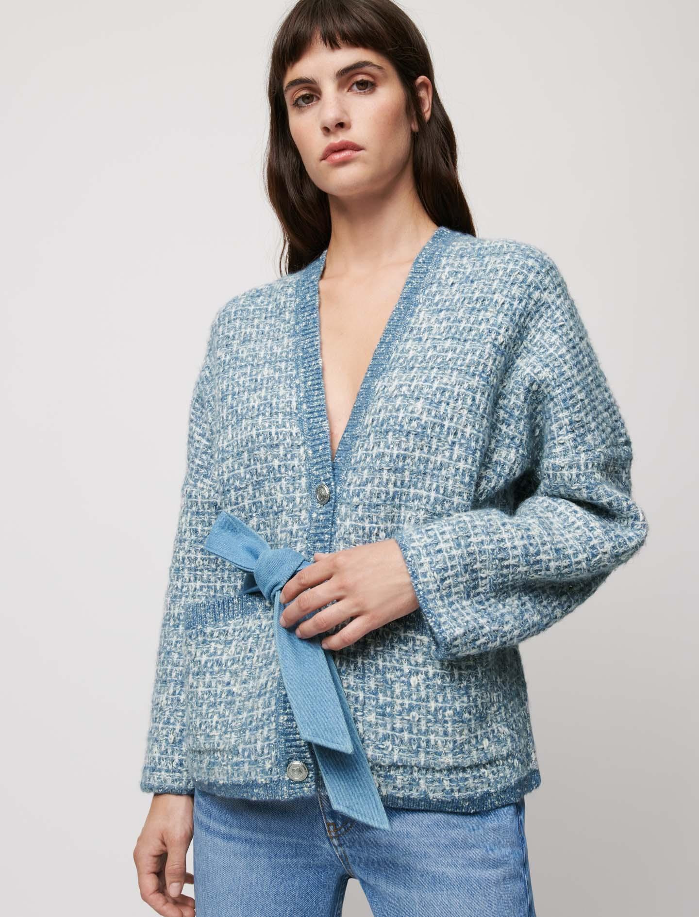 Belted fancy knit cardigan - Blue