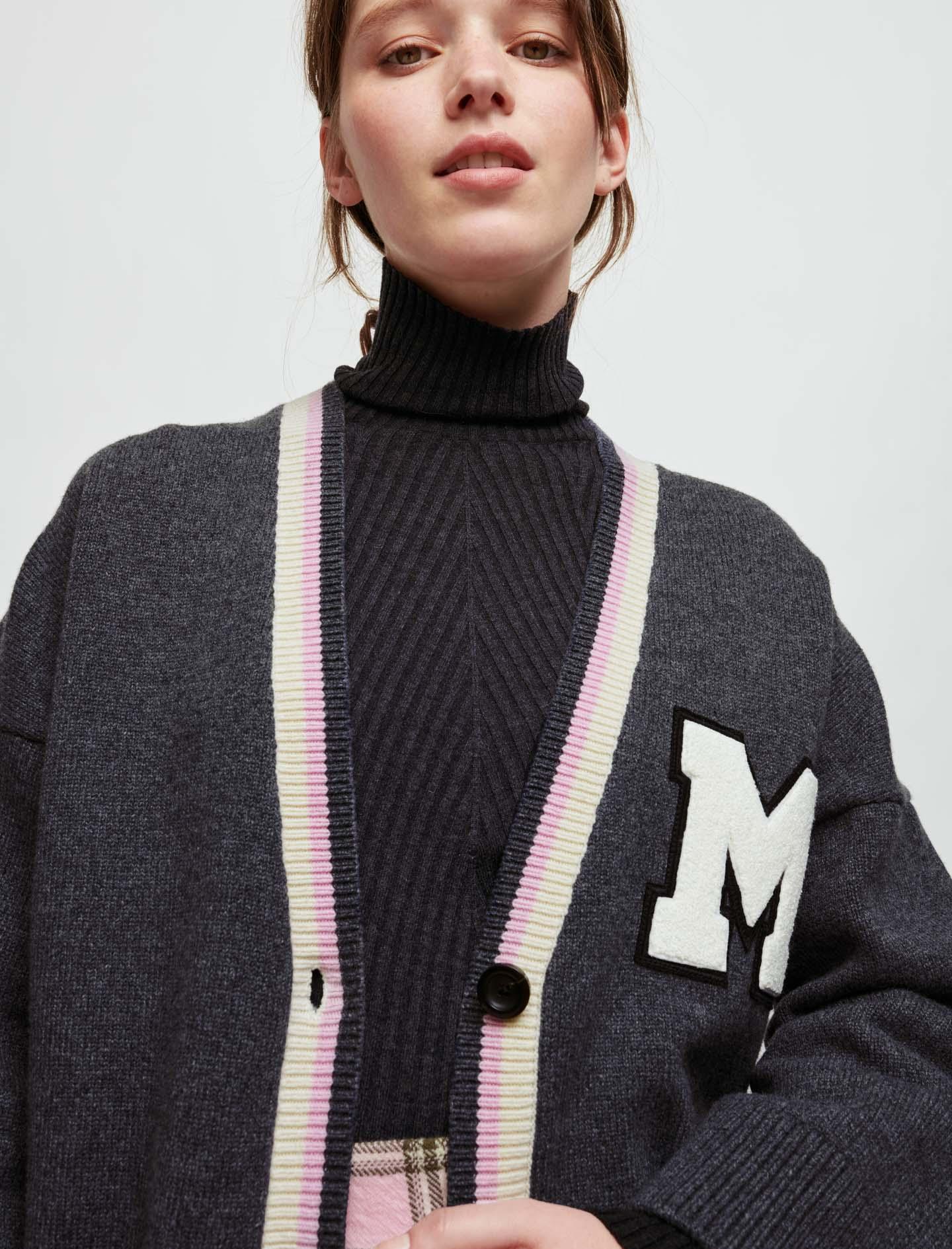 M patch college cardigan - Grey