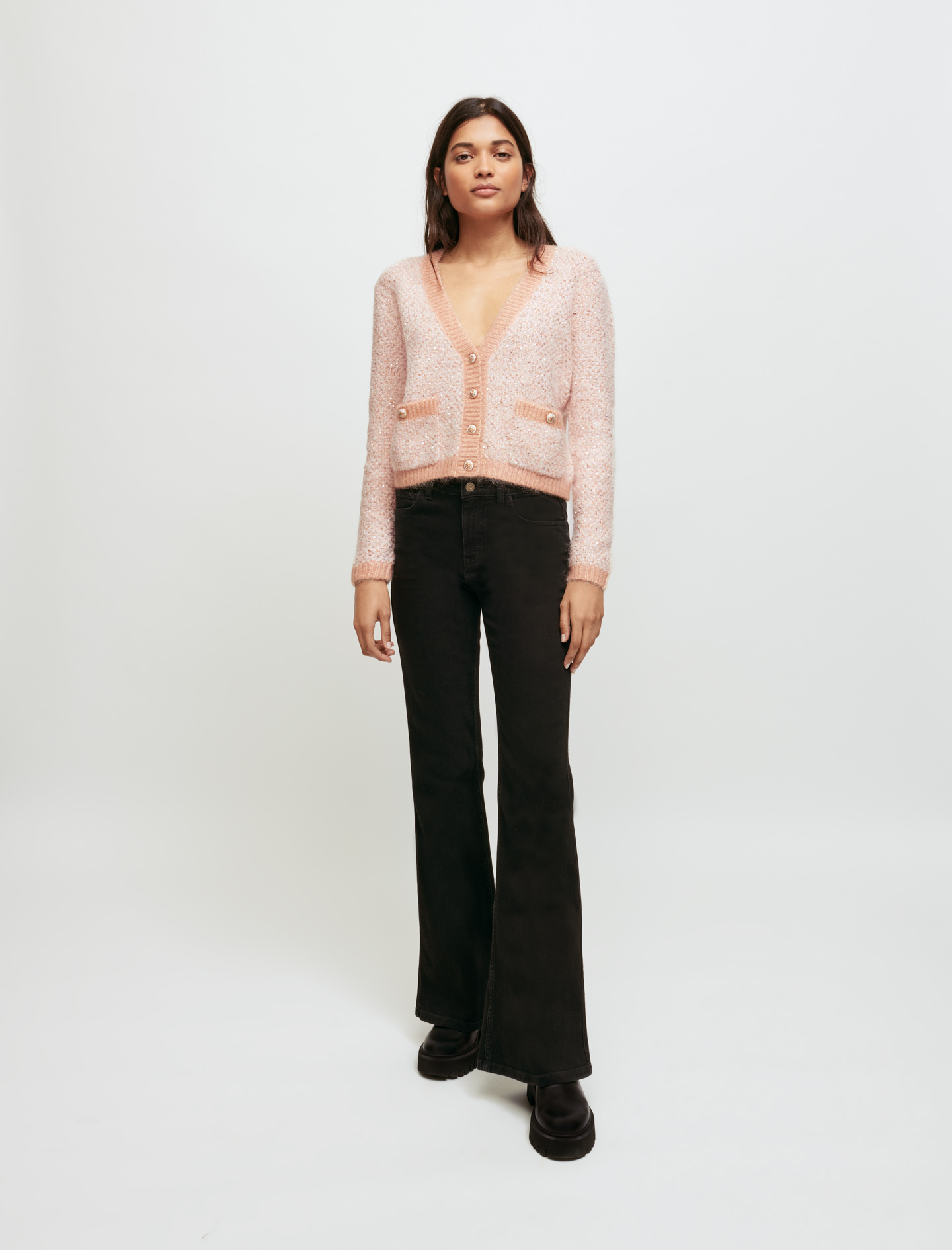 Decorative Knit Cardigan - Pink