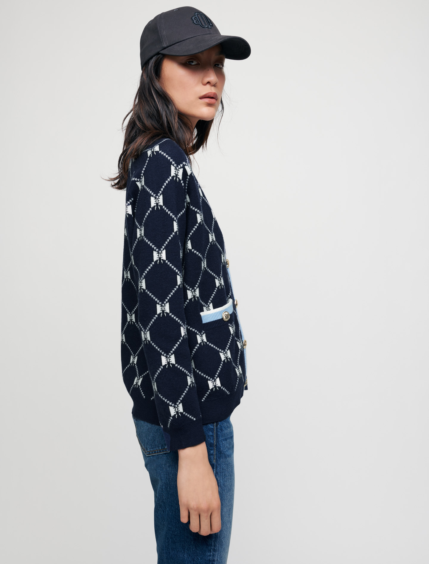 Jacquard cardigan with contrasting bows - Navy