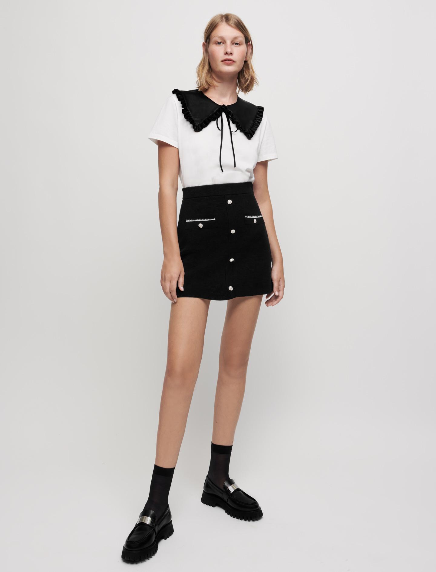 Embroidered poplin knit skirt - Black