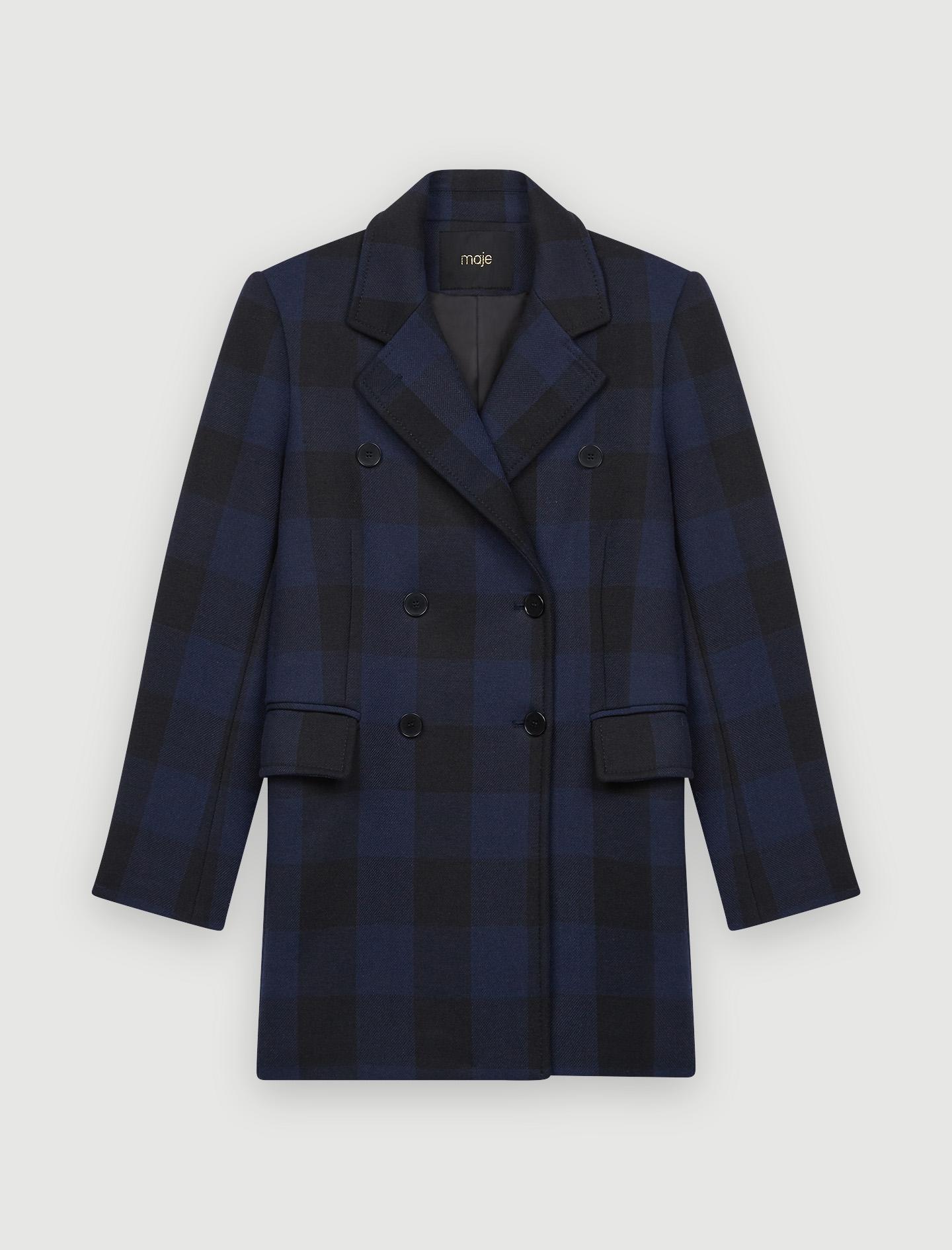 Checked jacket style coat - Navy