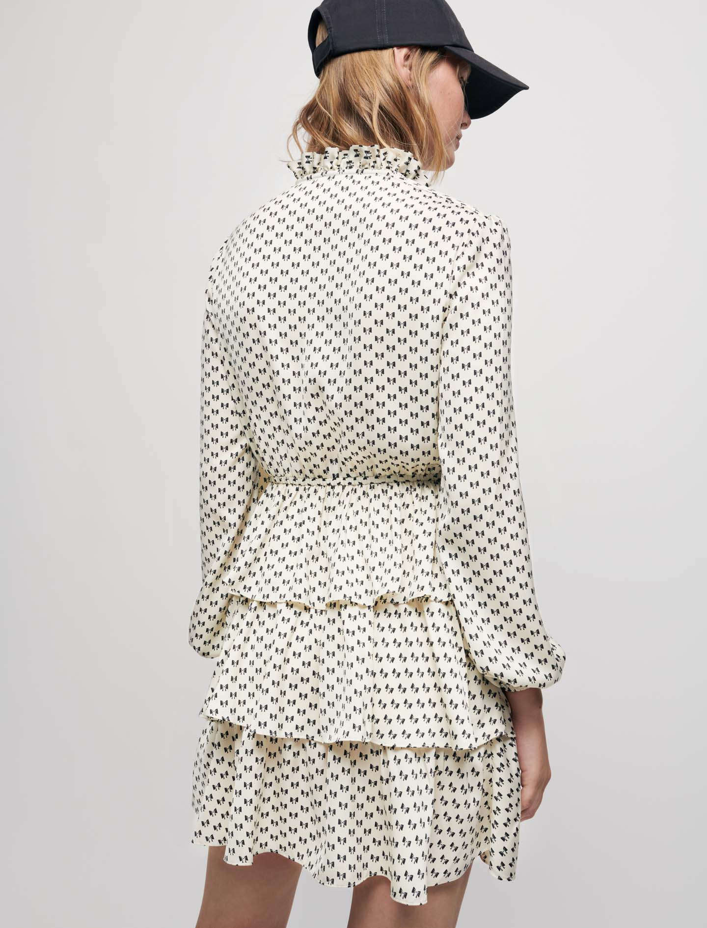 Satin bow print dress - White