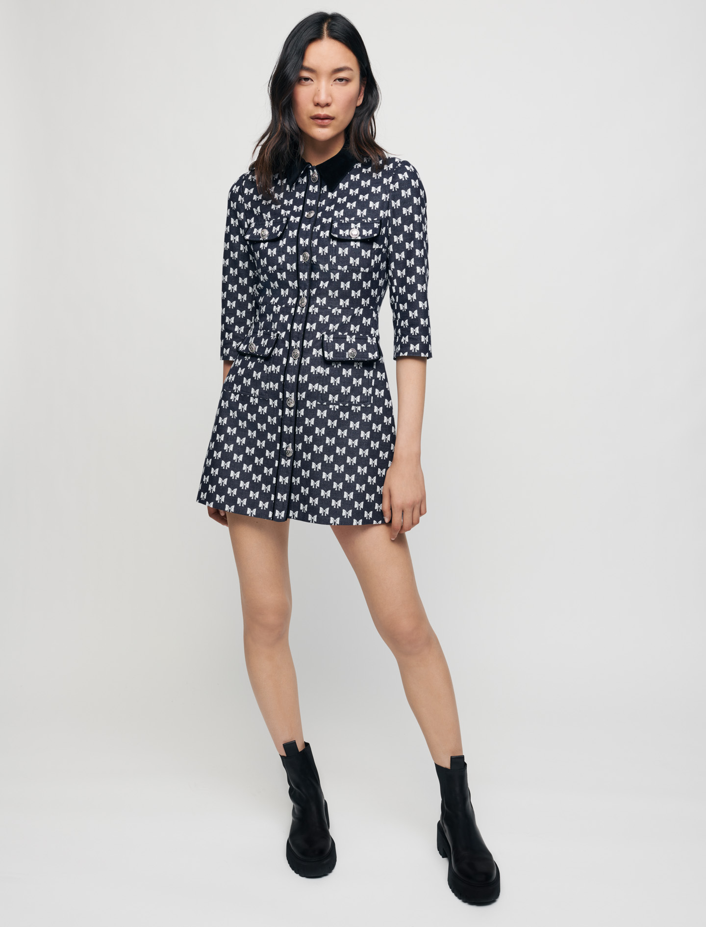Jacquard dress with bow pattern - Navy