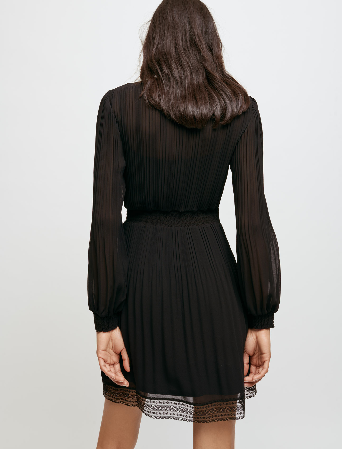 Muslin and lace smocked dress - Black