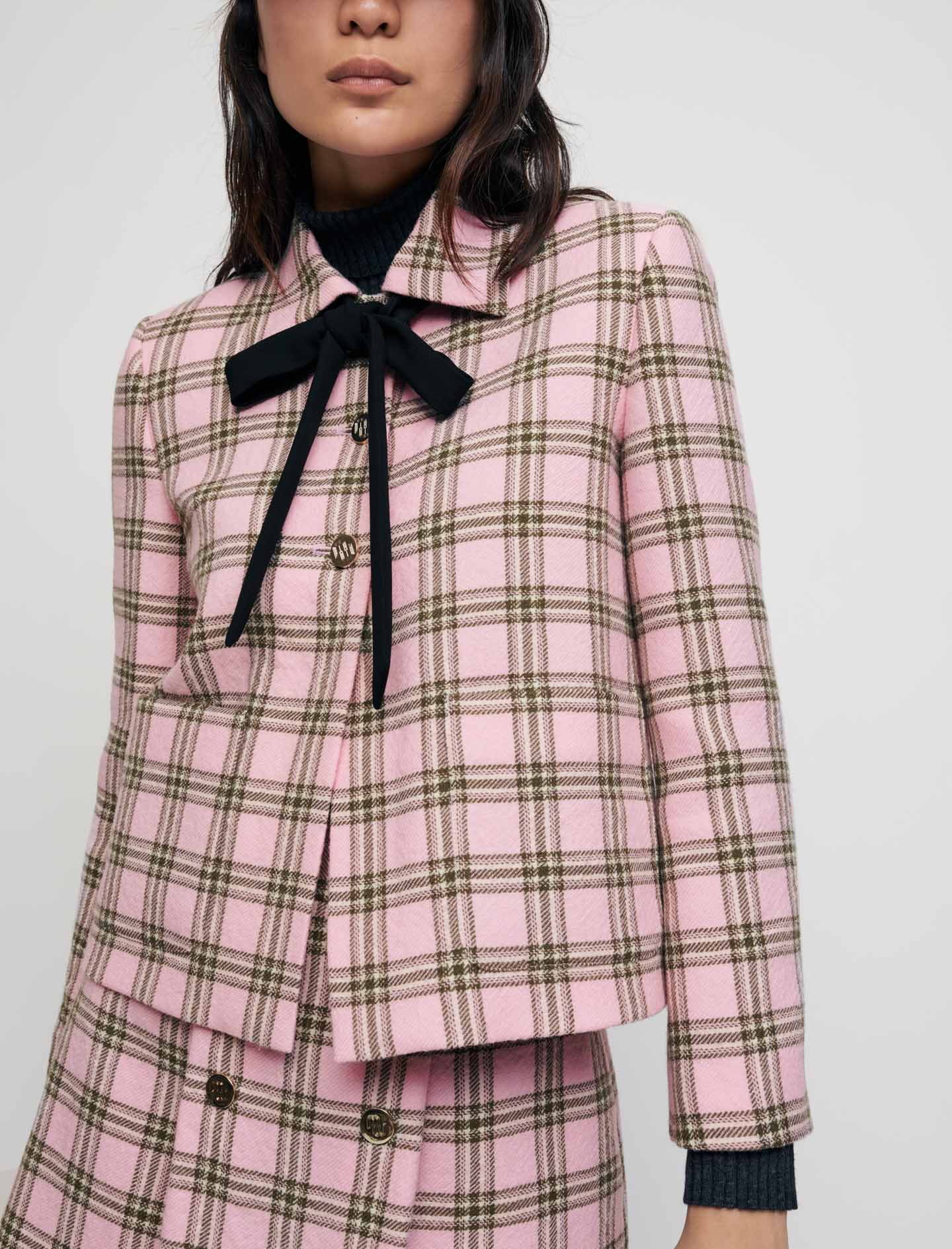 Checked jacket with contrasting necktie - Pink