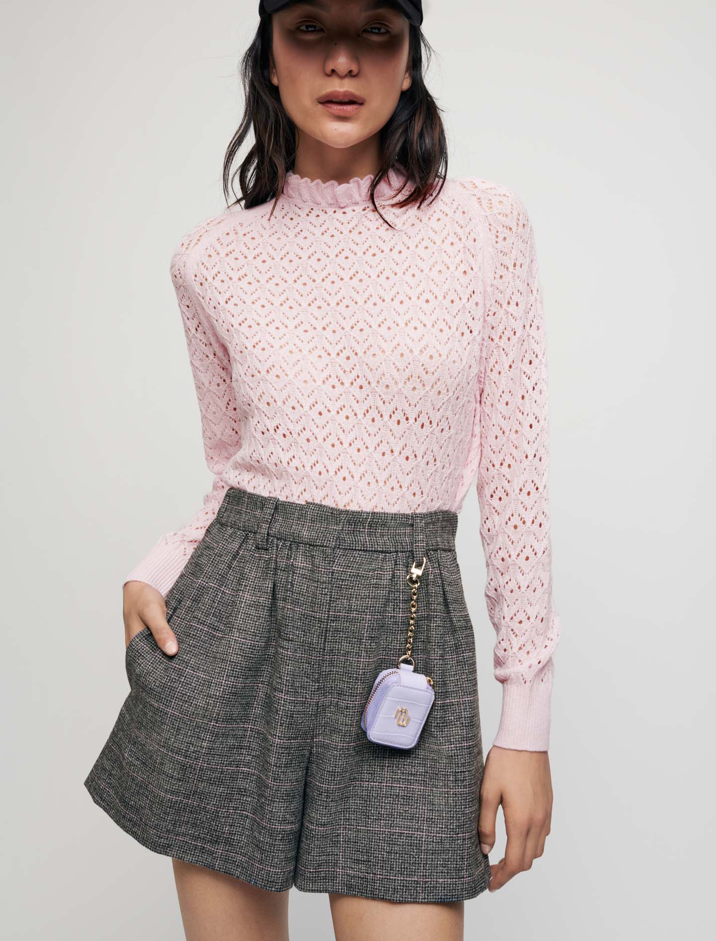 Fancy pointelle knit pullover - Pink