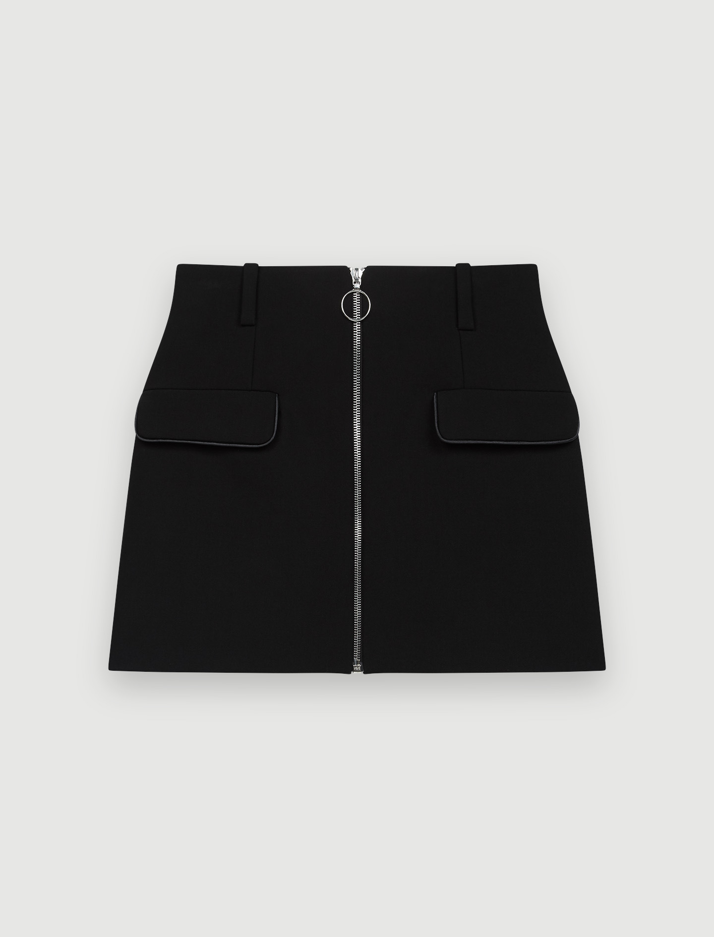 Crepe skirt with zipped front - Black