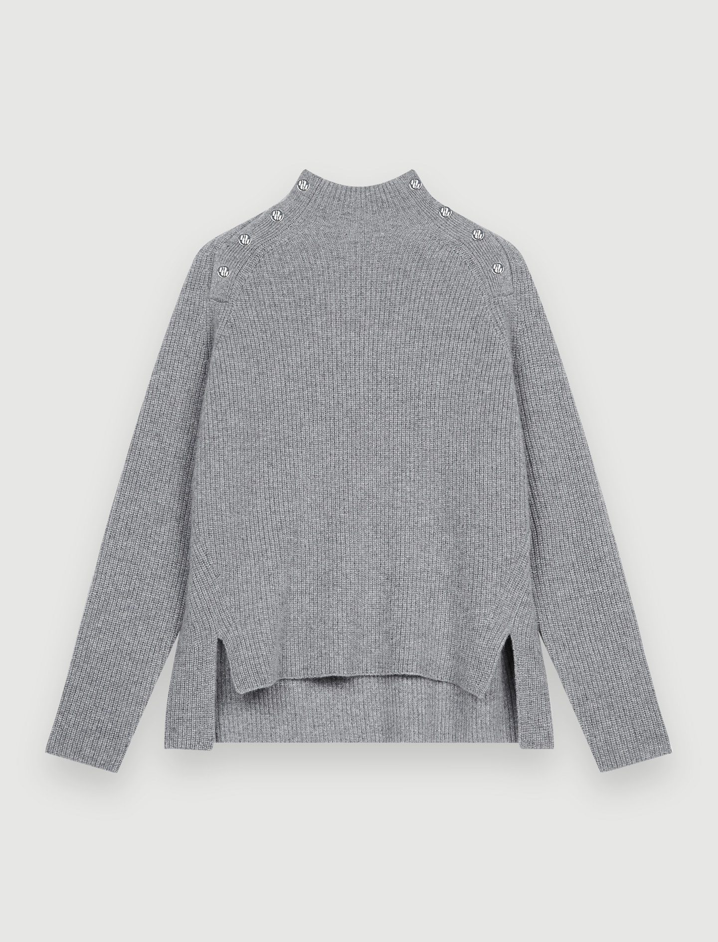 100% cashmere pull over with collar - Grey