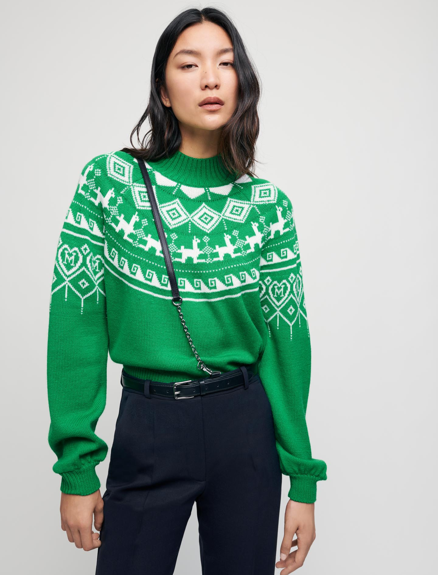 Jacquard pullover with stand up collar - Green
