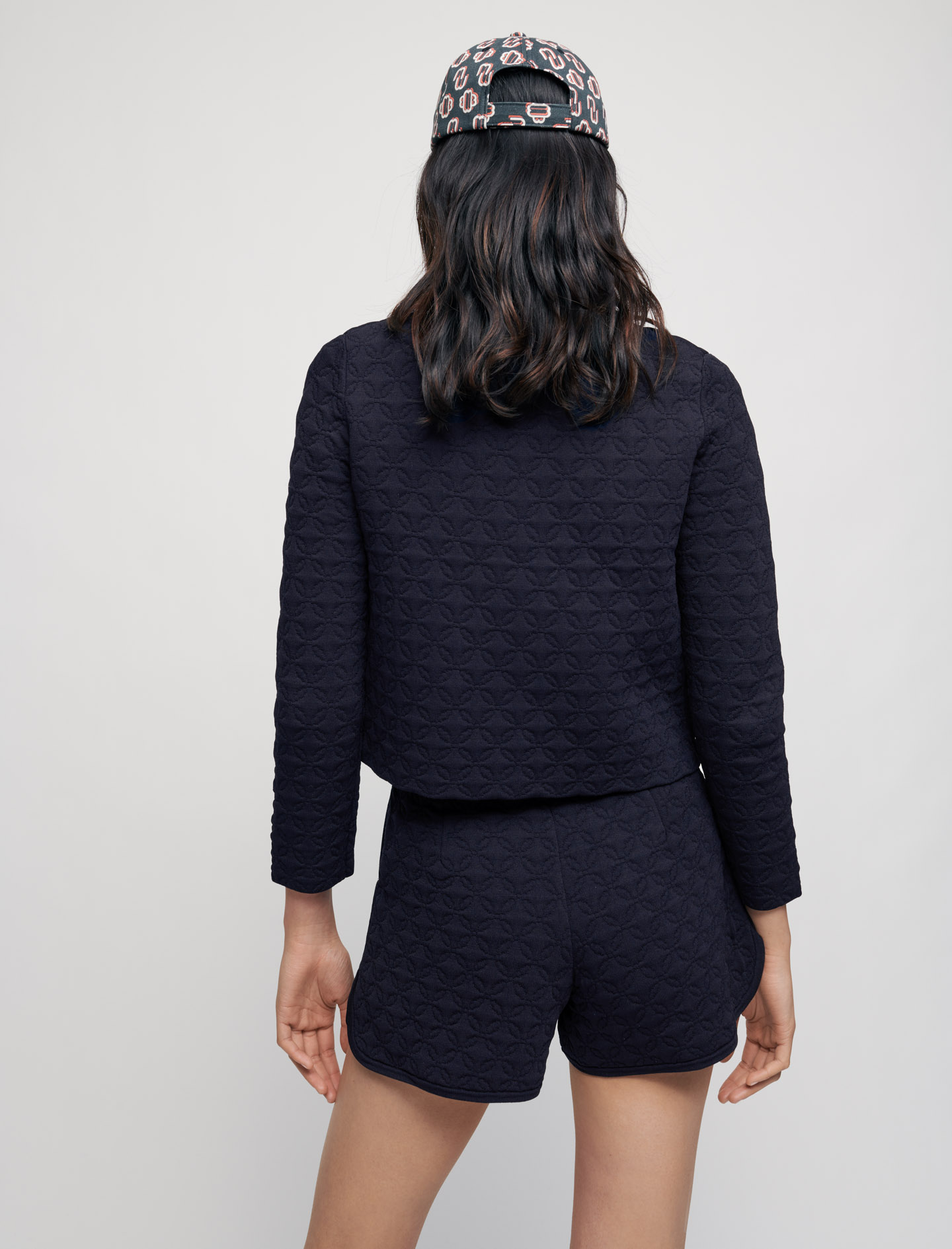 Quilted cardigan with small buttons - Marine