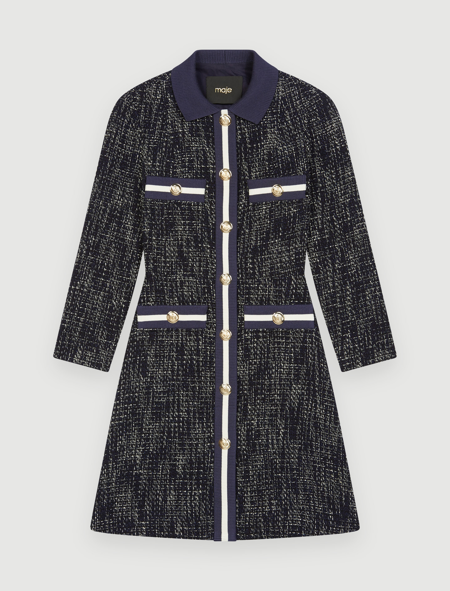 Tweed style dress with contrasting bands - Marine