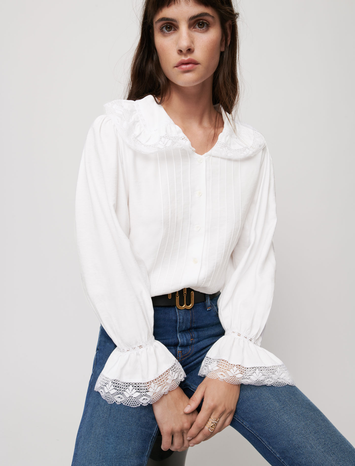 Veil and lace shirt - White