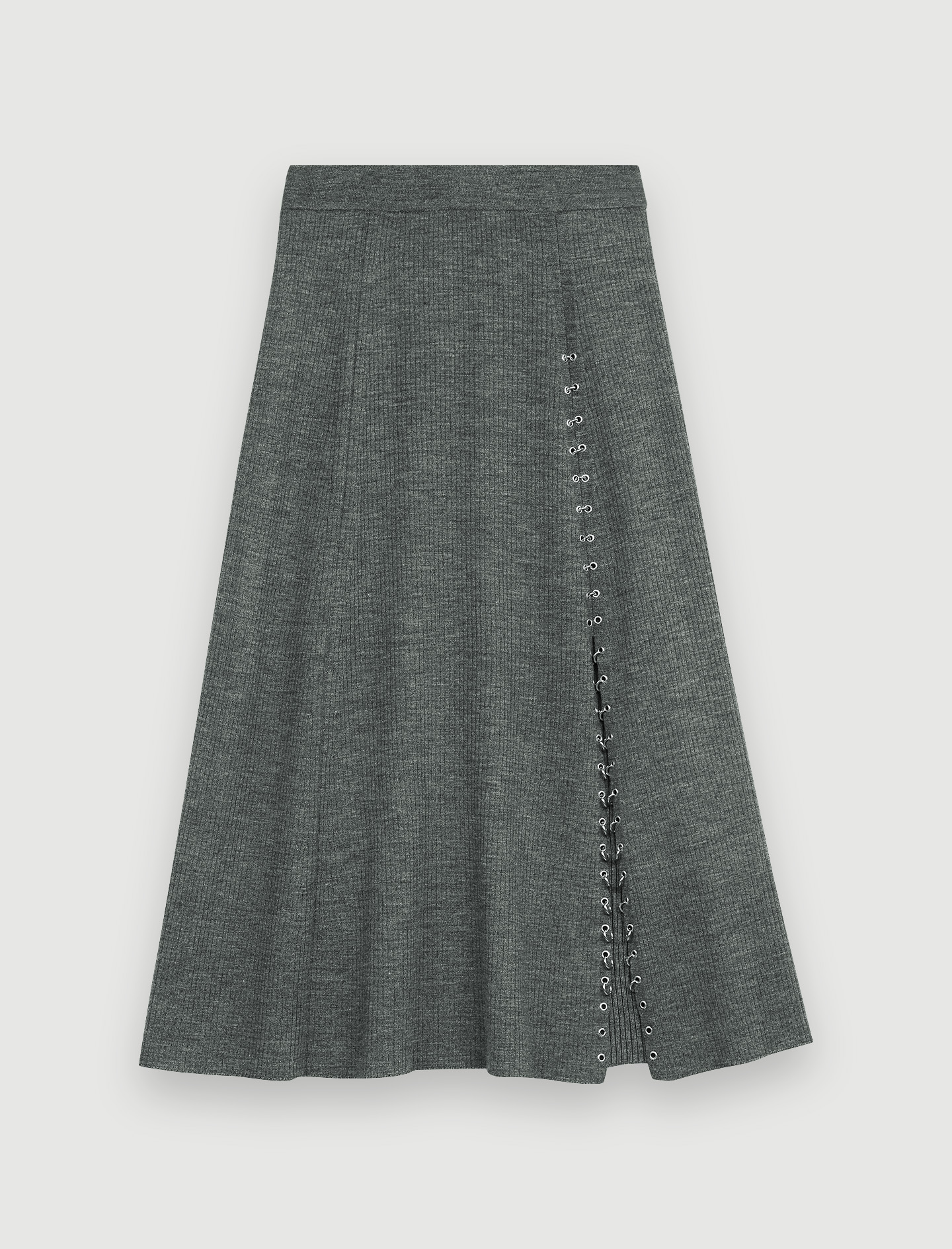 Knitted slit skirt with piercings - Grey