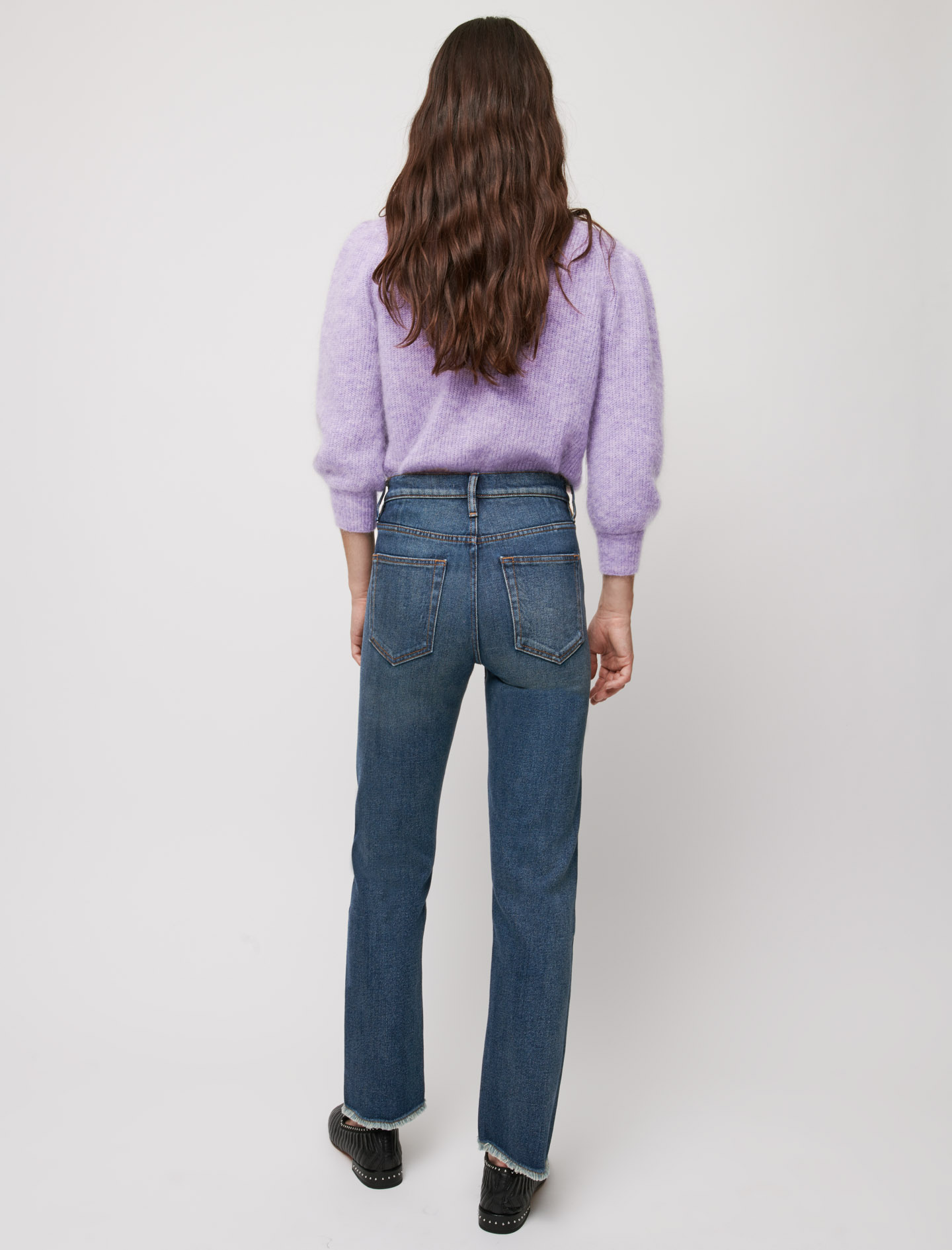 Slim fit jeans, frayed at the bottom - Blue