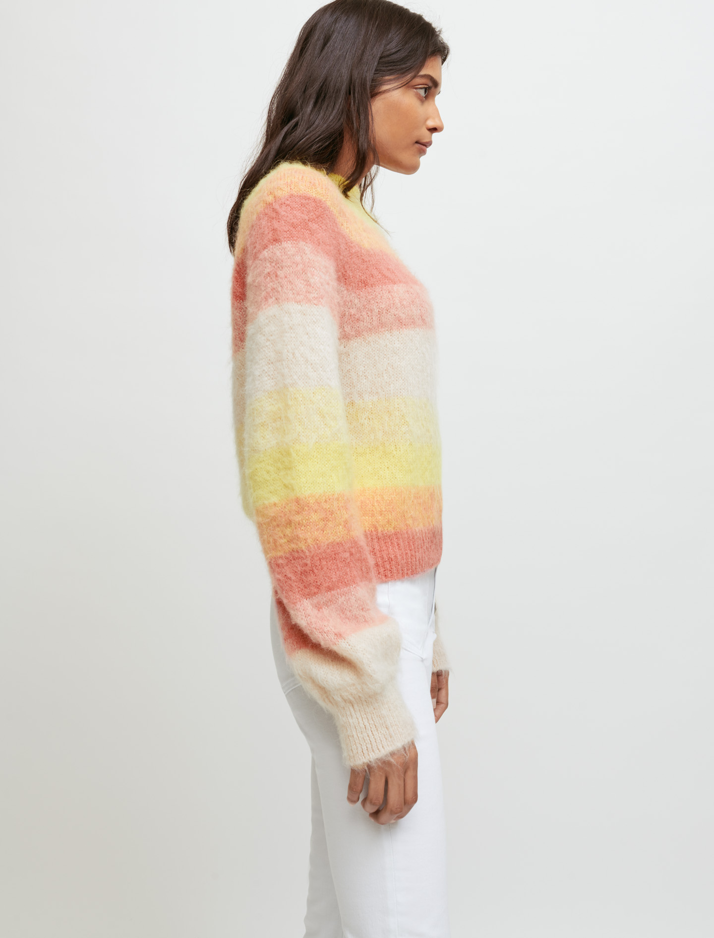 Fine jumper with multicoloured stripes - Yellow