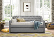 Homelegance Torrence Sleigh Tufted Daybed with Trundle in Grey front
