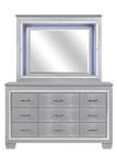 Homelegance Allura Collection Dresser & Mirror in Silver