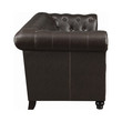 Coaster Roy Collection Traditional Button-Tufted Leather Sofa in Brown; Side View