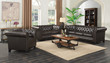 Coaster Roy Collection Traditional Button-Tufted Leather Sofa in Brown; Lifestyle