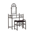 Coaster Heart Metal Vanity Set with Glass Top and Stool Fabric Seat