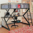 Coaster Alps X Full Loft Bunk Bed in Black with Workstation