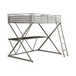 Coaster Alps X Workstation Loft Twin Bunk Bed in Silver