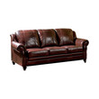 Coaster Princeton Rolled Arm Leather Sofa in Merlot