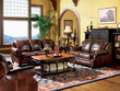 Coaster Princeton Rolled Arm Leather Sofa in Merlot; Lifestyle