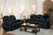 Homelegance Madoc Collection Reclining Sofa in Black and Madoc Loveseat in Black