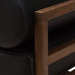 Baxton Studio Shaw Mid-Century Modern Pine Black Faux Leather Walnut Wood 2-Piece Living Room Sofa Set