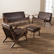 Baxton Studio Bianca Mid-Century Modern Walnut Wood Dark Brown Distressed Faux Leather Livingroom Sofa Set